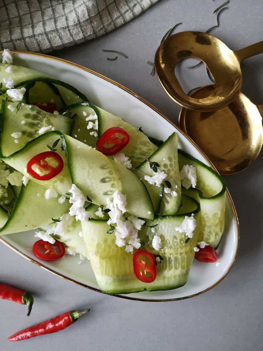 Frisse salade met komkommer