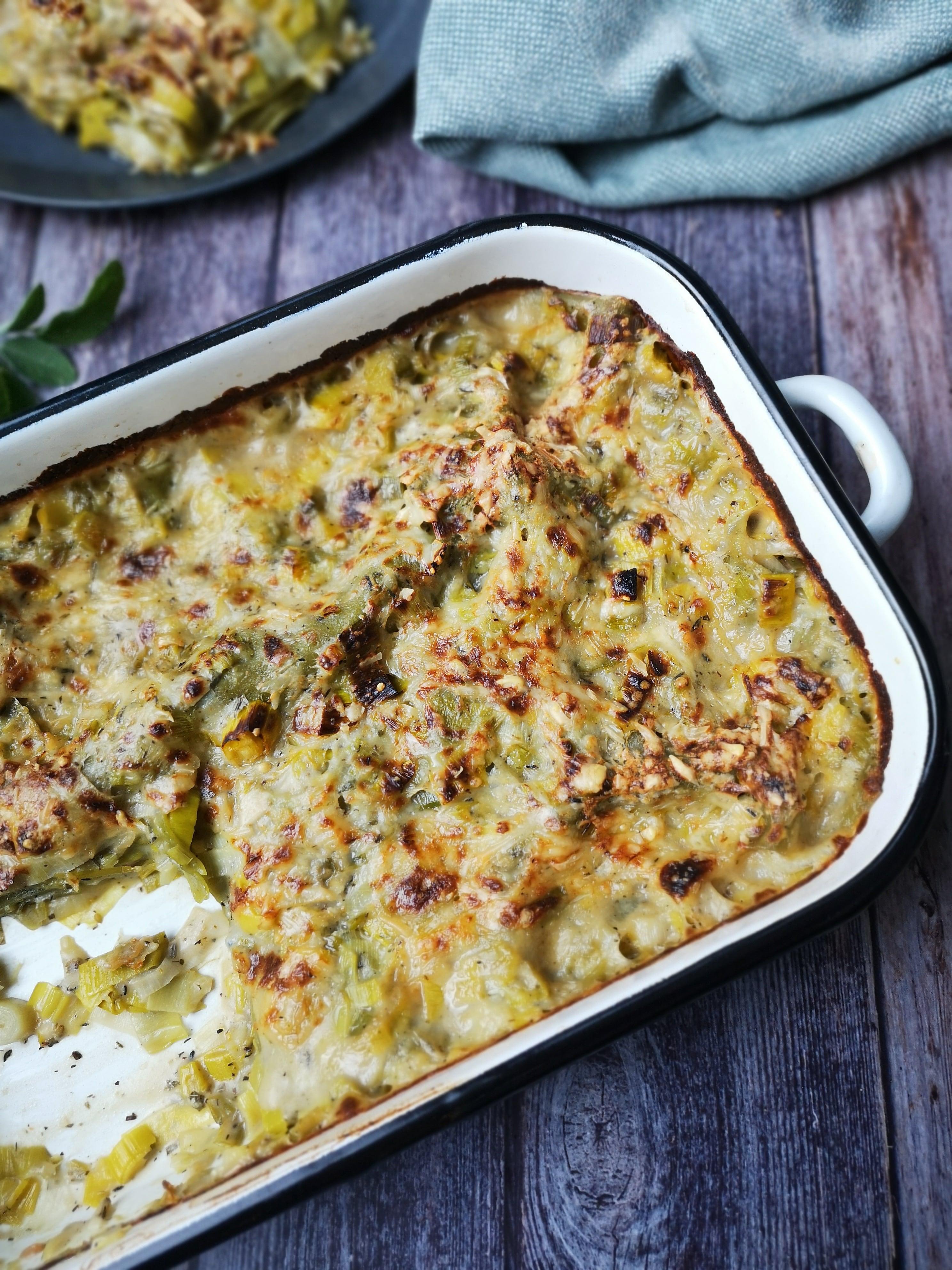 Vegetarische lasagne met prei