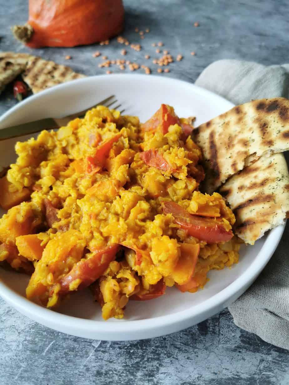 Pompoencurry dahl vegetarisch