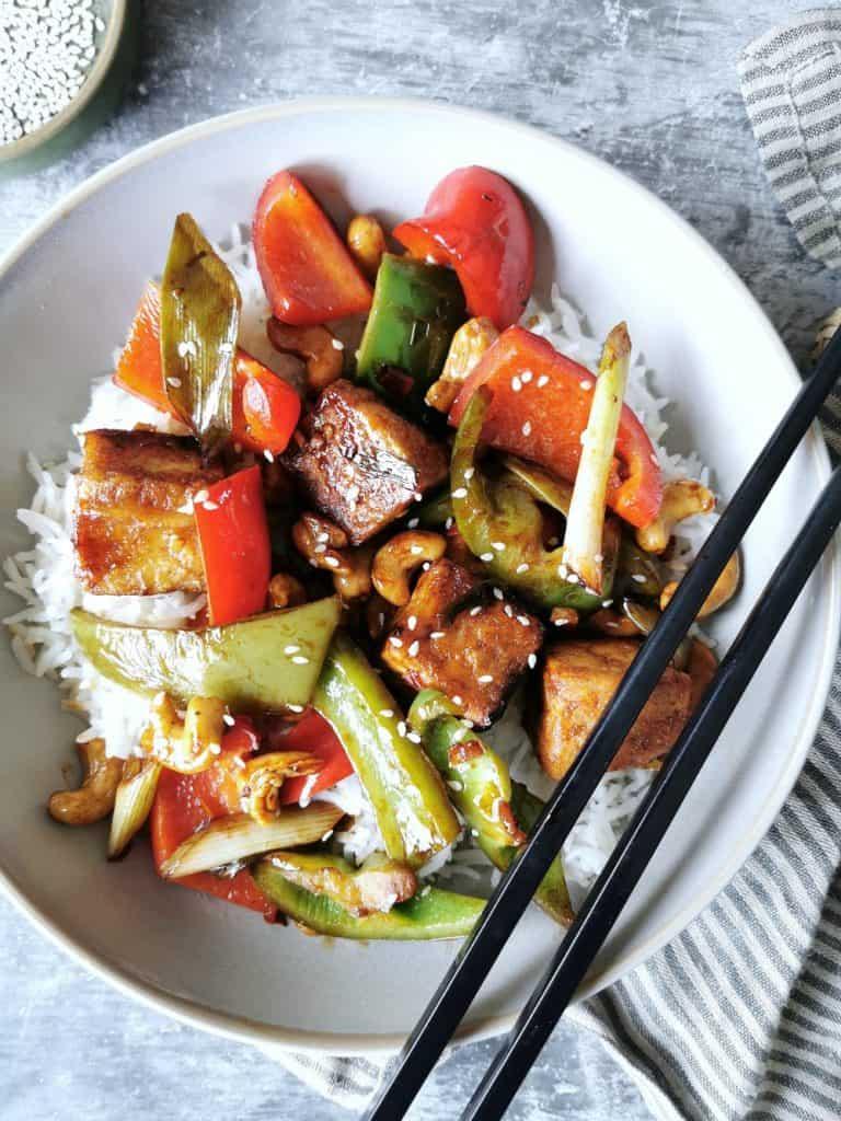 Vegetarische kung pao knapperige tofu
