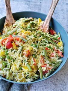 Zomersalade met sperziebonen en rijst
