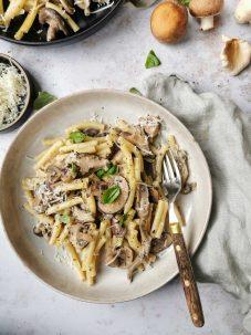 Vega pasta met paddenstoelen