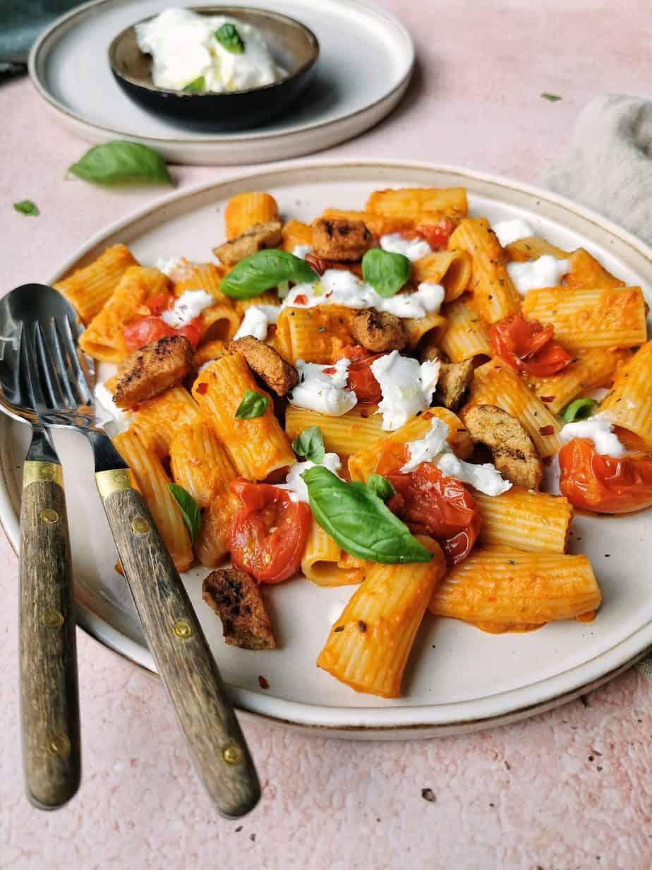 Eiwitrijke vegetarische pasta